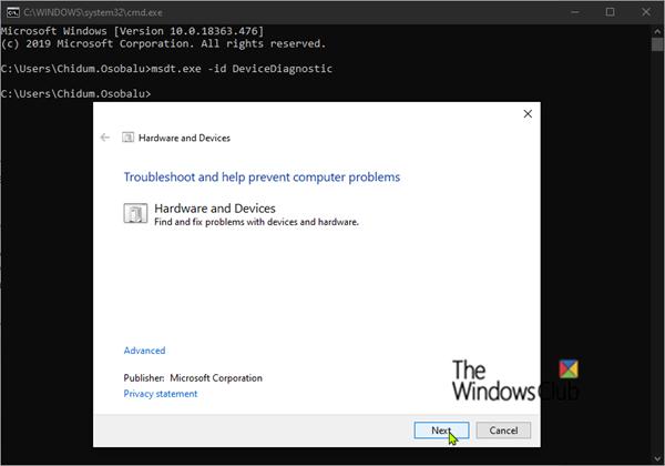 Solucionador de problemas de hardware y dispositivos_Windows10