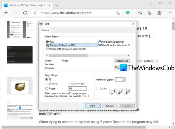 Habilitar el cuadro de diálogo de impresión del sistema en Microsoft Edge