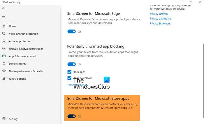 Deshabilitar SmartScreen para aplicaciones de Microsoft Store