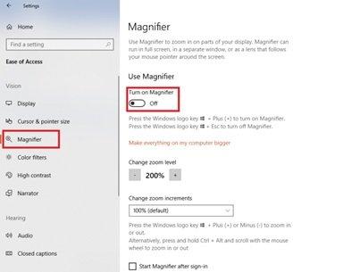 Funciones de accesibilidad de Windows 10