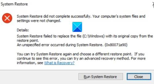 La restauración del sistema no se completó correctamente, código de error 0x80071a90