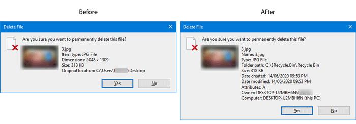 Cómo mostrar los detalles completos del archivo en el cuadro de diálogo de confirmación de eliminación