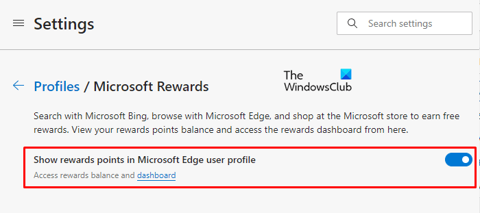 Mostrar u ocultar puntos de recompensa de Microsoft en el perfil Edge