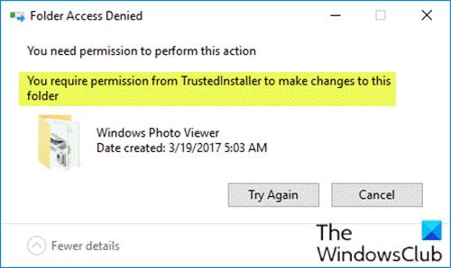 Necesita permiso de TrustedInstaller