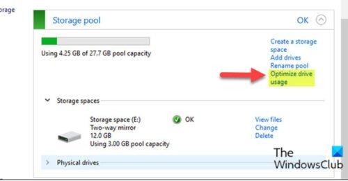 Optimice el uso de la unidad en el grupo de almacenamiento para espacios de almacenamiento a través del panel de control