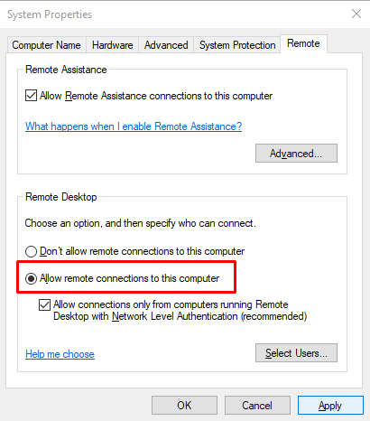 Cómo reparar el código de error de escritorio remoto 0x204 en Windows 10