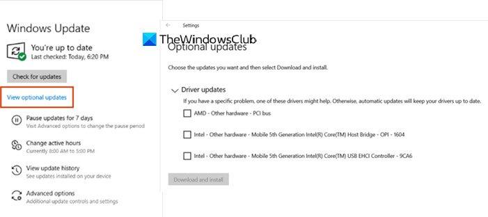 Actualización opcional de Windows 10