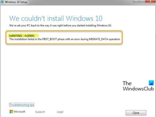 Error de instalación de actualización de Windows 10 0x80070002 - 0x3000D
