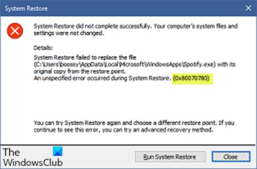 Error de restauración del sistema 0x80070780