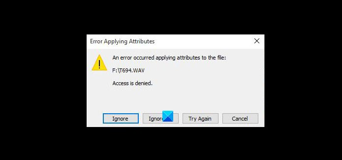 Se produjo un error al aplicar atributos al archivo.