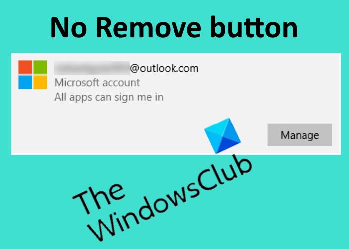sin botón de eliminación para cuenta de microsoft