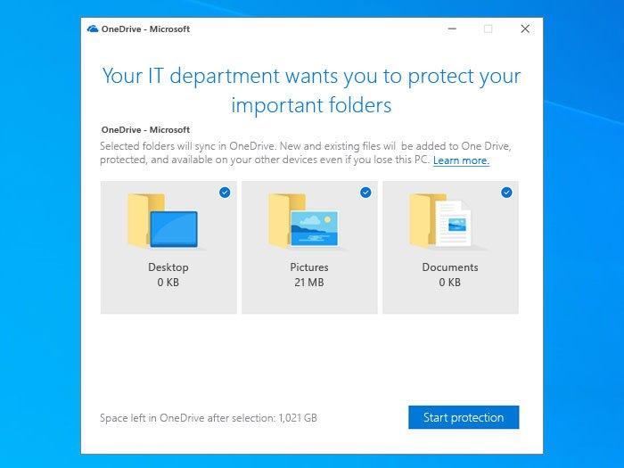 Solicitar a los usuarios que muevan las carpetas conocidas de Windows a OneDrive