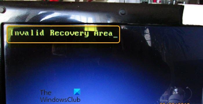 Error de área de recuperación no válida