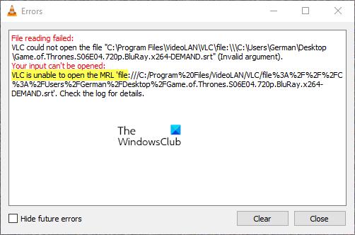 VLC no puede abrir el archivo MRL