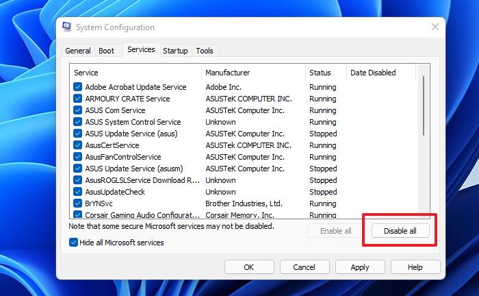 Servicios de desactivación de configuración del sistema
