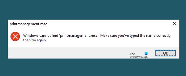 Windows no puede encontrar printmanagement.msc