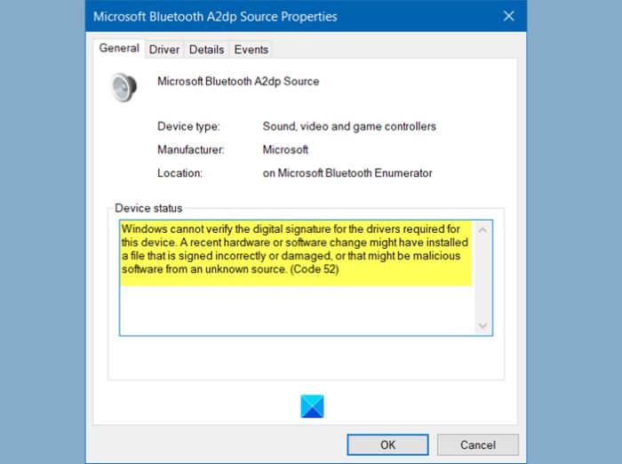 Windows no puede verificar la firma digital Código 52